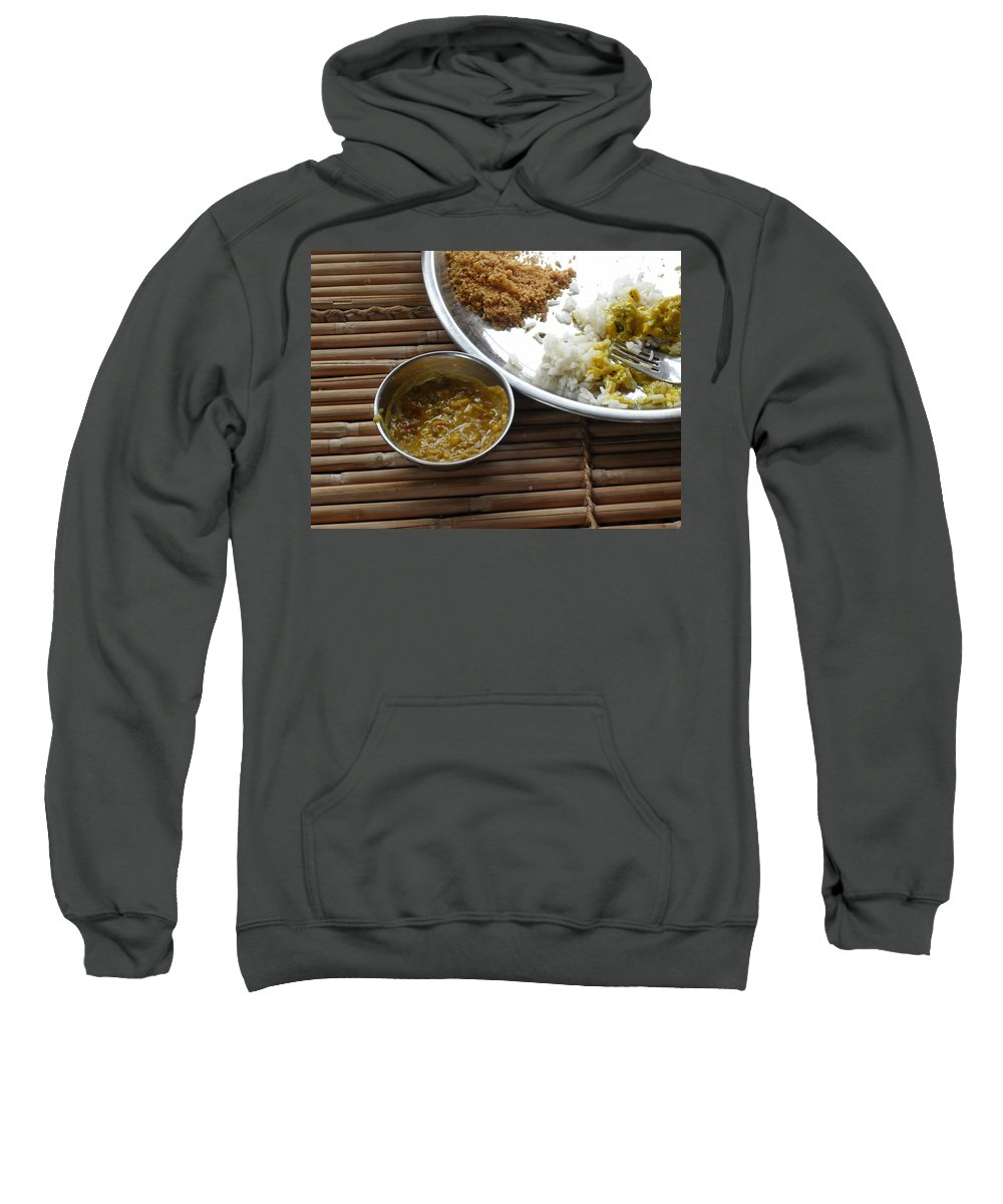 Food Sweatshirt featuring the photograph A Typical Plate Of Indian Rajasthani Food On A Bamboo Table by Ashish Agarwal