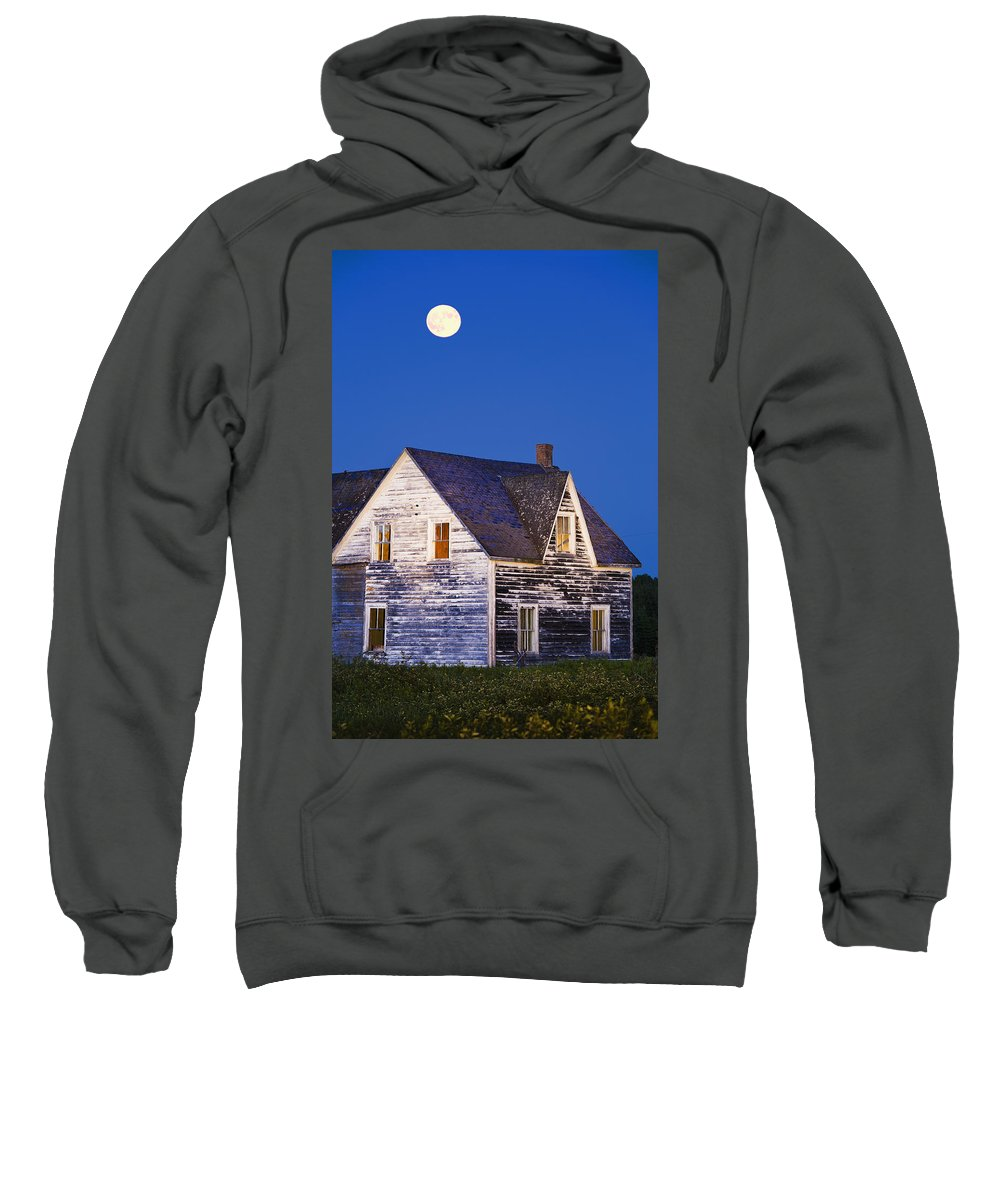Blue Sweatshirt featuring the photograph Abandoned House And Moon At Dusk by Yves Marcoux