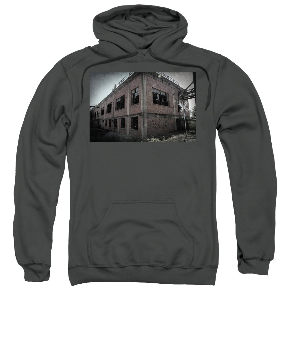 Urban Exploration Sweatshirt featuring the photograph Across The Tracks by April Davis
