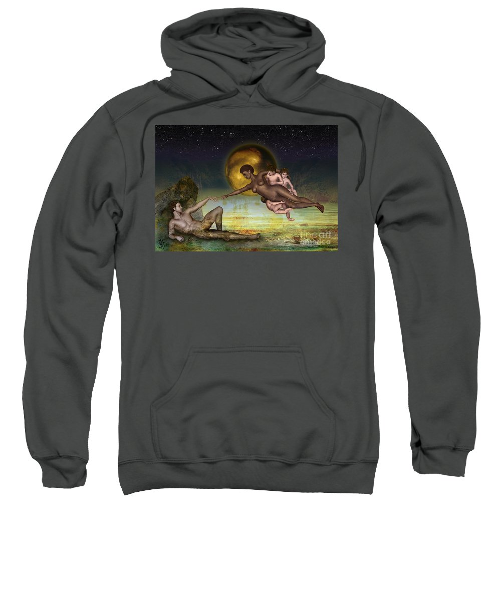 Creation Sweatshirt featuring the digital art Adam Creation Revisited She Is Black by Rosa Cobos