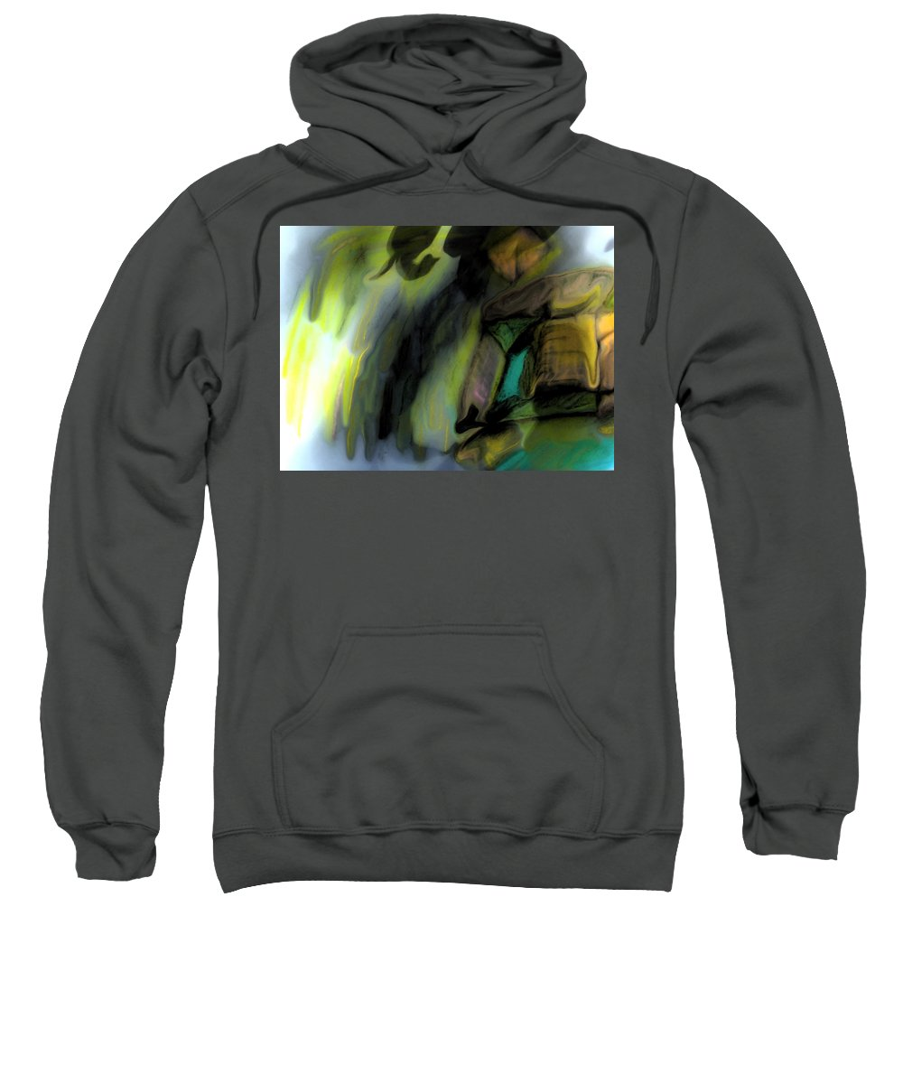 Fine Art Oil Pastel Print Sweatshirt featuring the painting Adrift In The Storm by Marie Jamieson