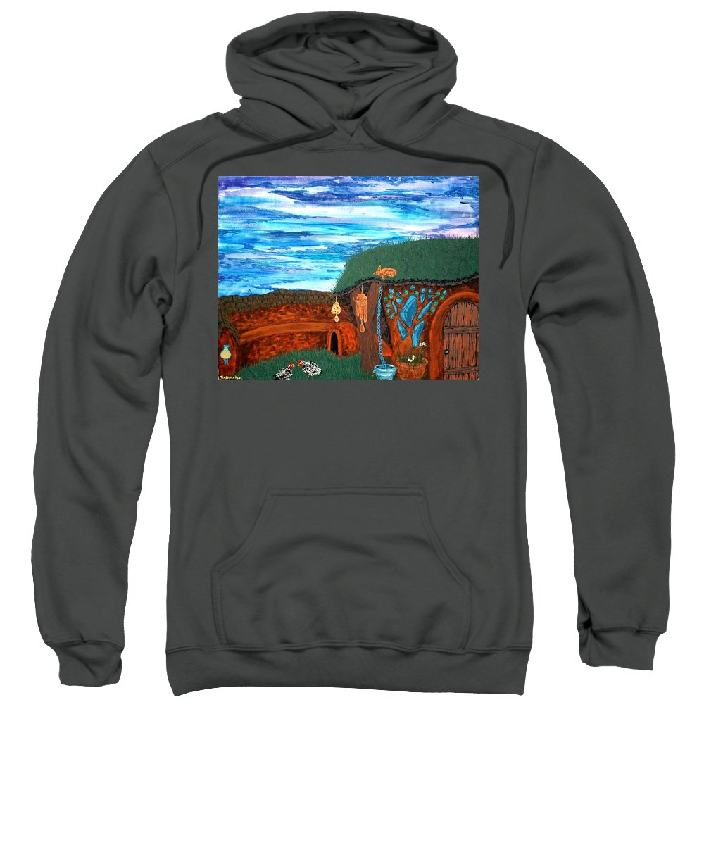 Chicken Sweatshirt featuring the painting Afternoon Cob by Faeriebluemoon Creations Tressure Hardcastle