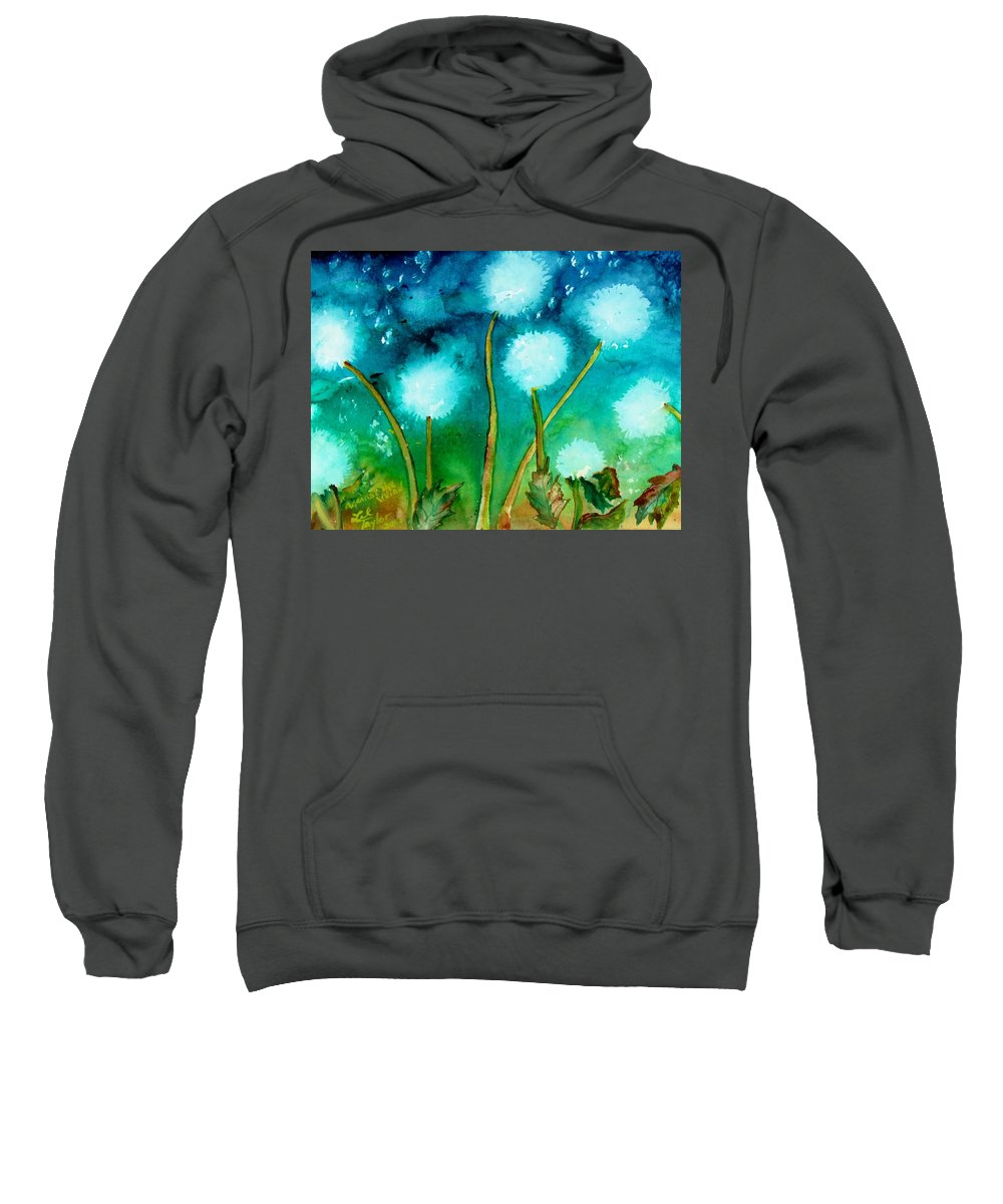 Dandelions Sweatshirt featuring the painting Against The Wind by Lil Taylor