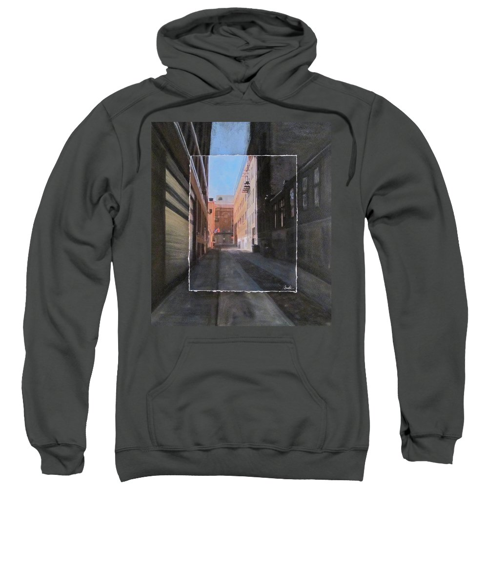 Alley Sweatshirt featuring the mixed media Alley Front Street Layered by Anita Burgermeister