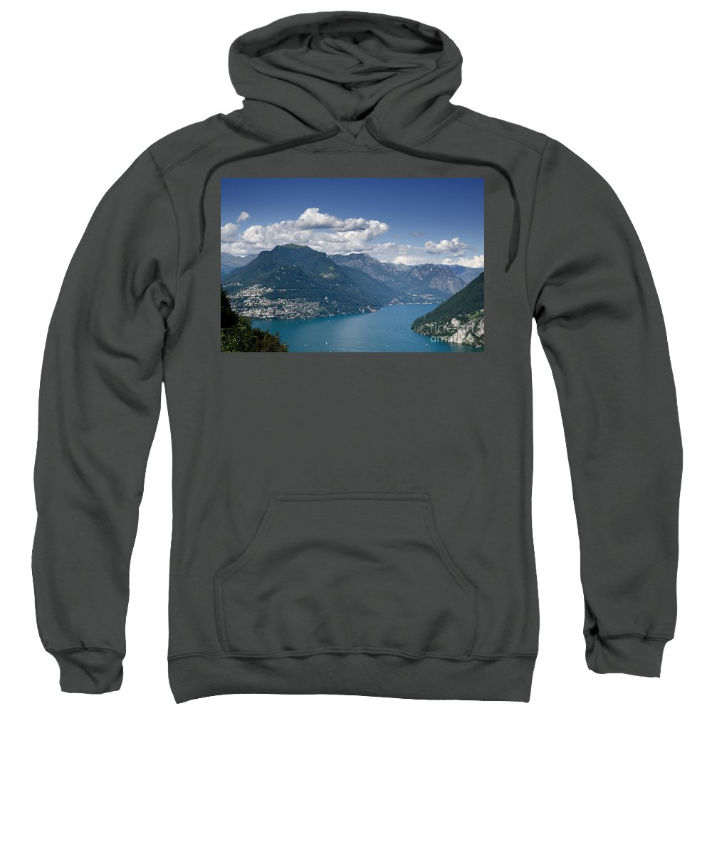 Mountains Sweatshirt featuring the photograph Alpine Lake And Mountains by Mats Silvan