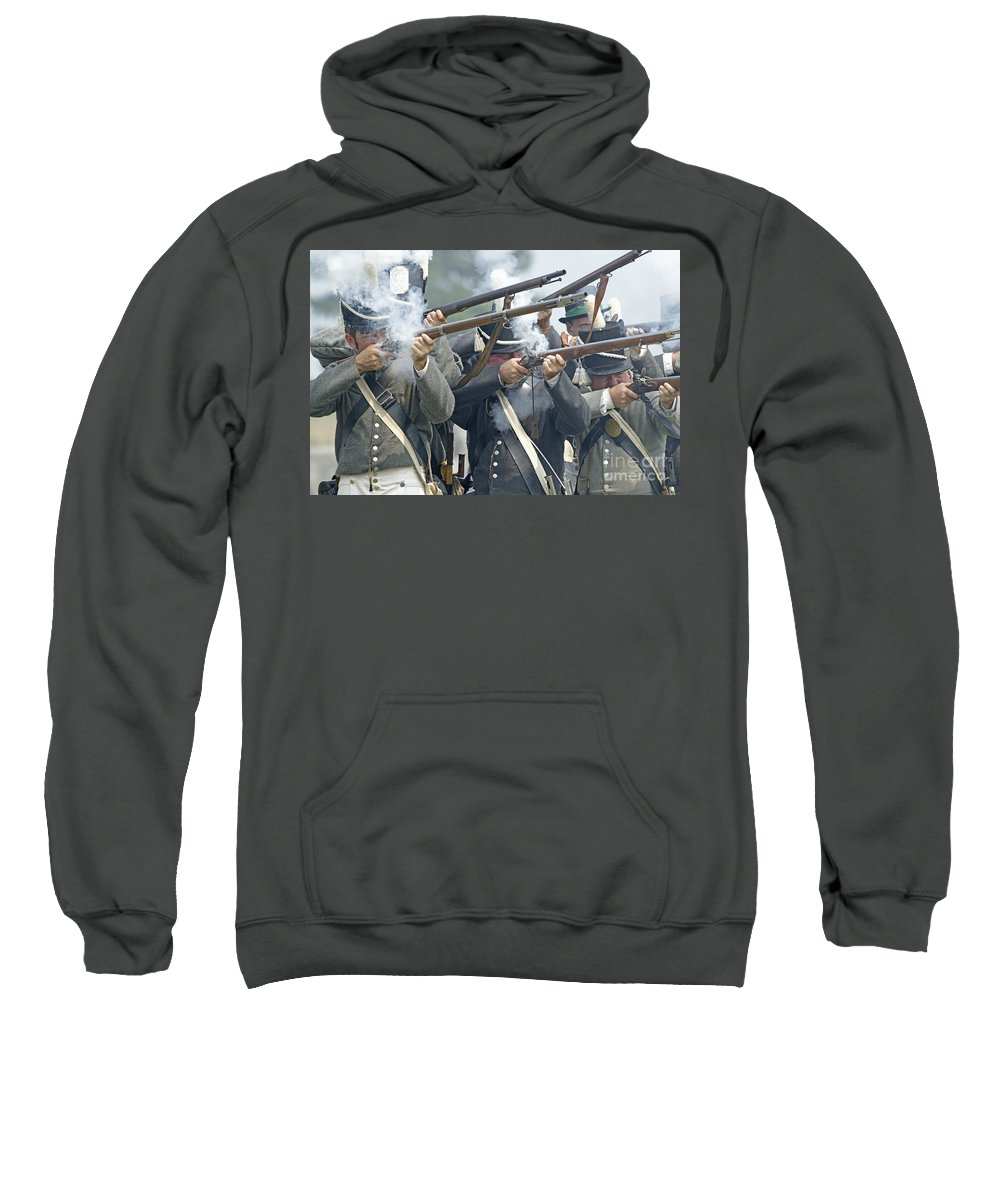 War Of 1812 Sweatshirt featuring the photograph American Infantry Firing by JT Lewis