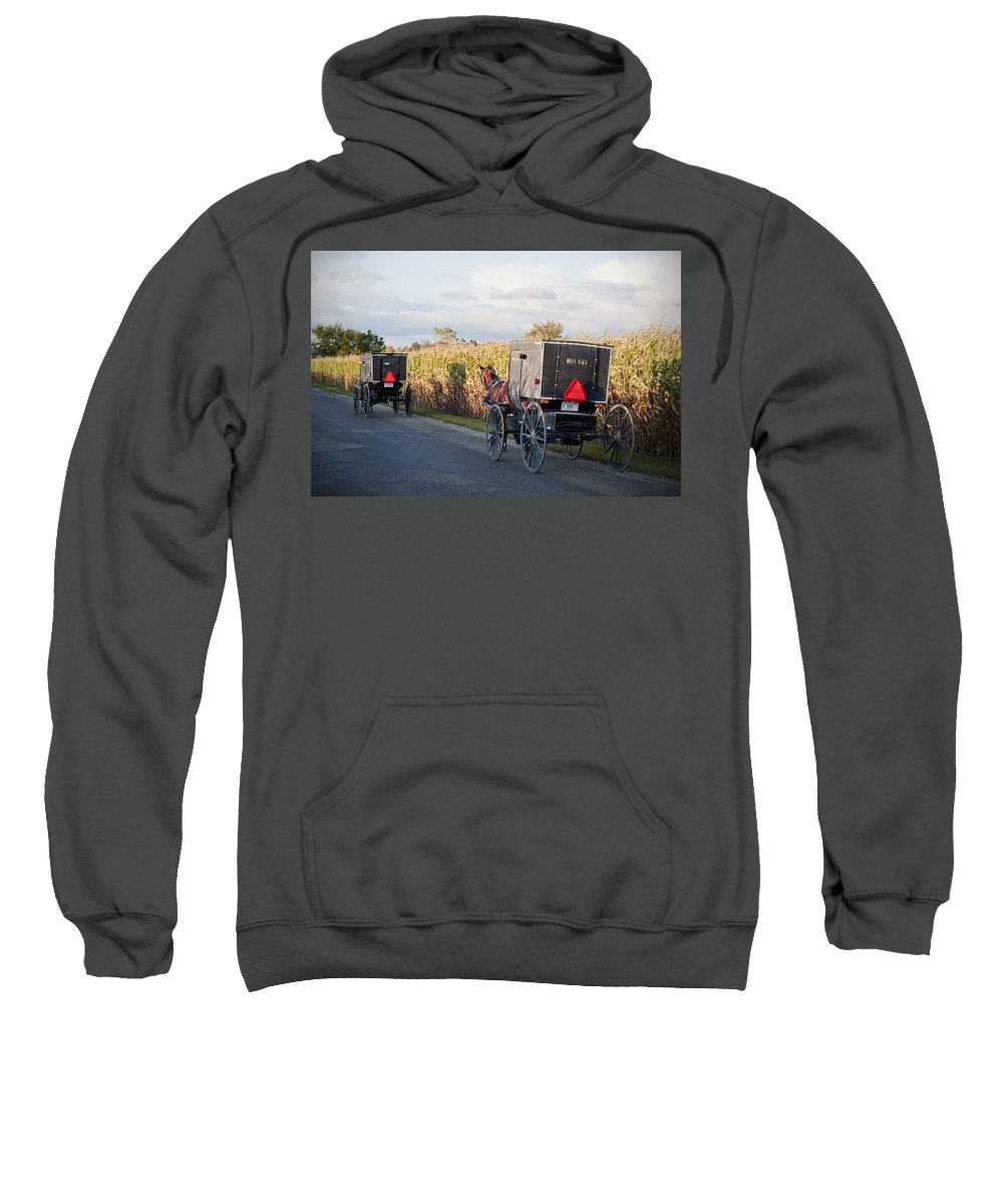 Amish Sweatshirt featuring the photograph Amish Buggies October Road by David Arment