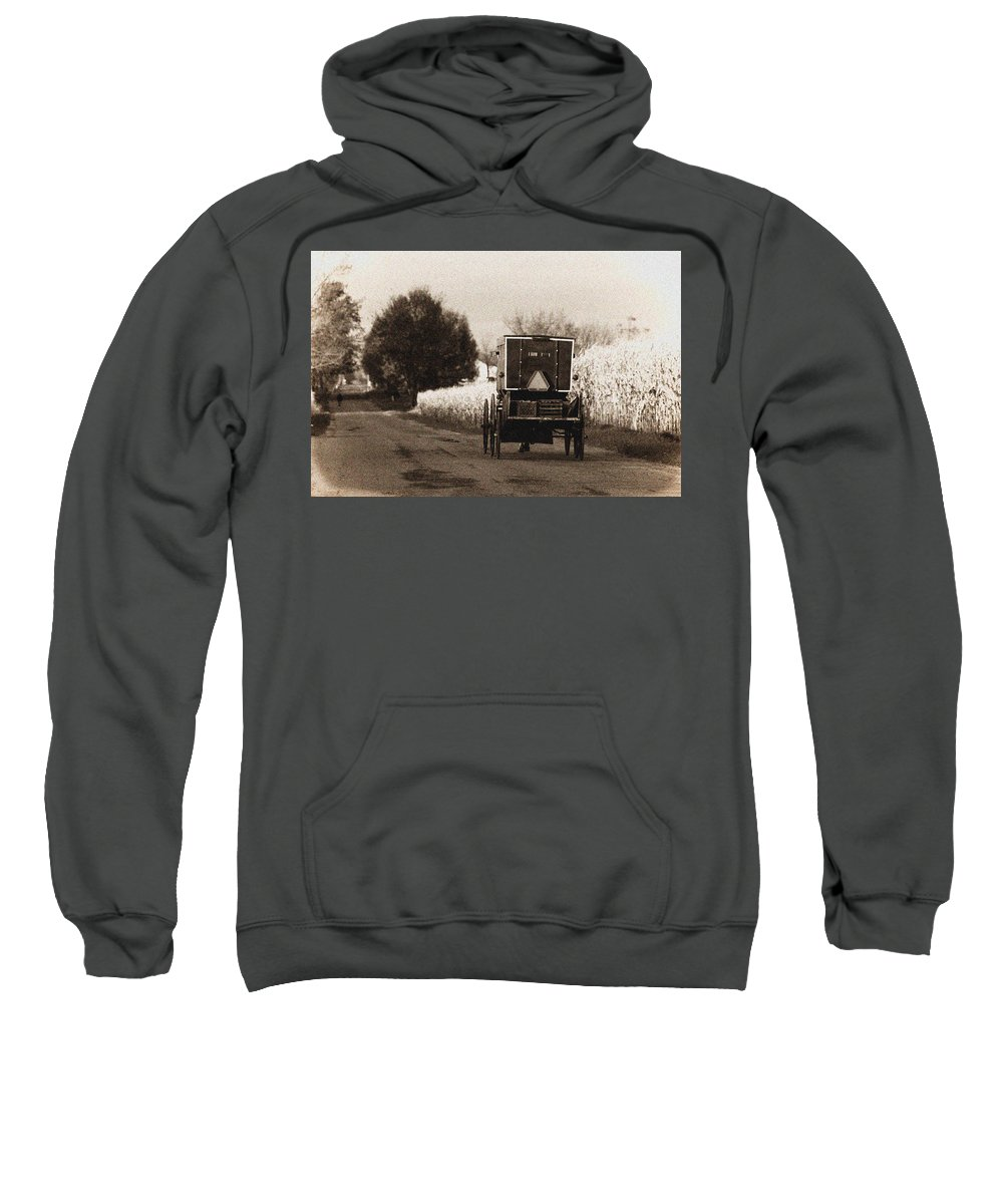 Amish Sweatshirt featuring the photograph Amish Buggy And Wagon by David Arment