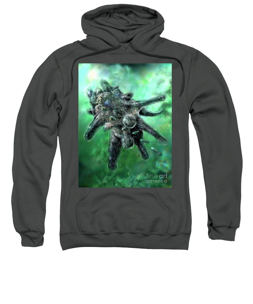 Ameba Sweatshirt featuring the digital art Amoeba Green by Russell Kightley