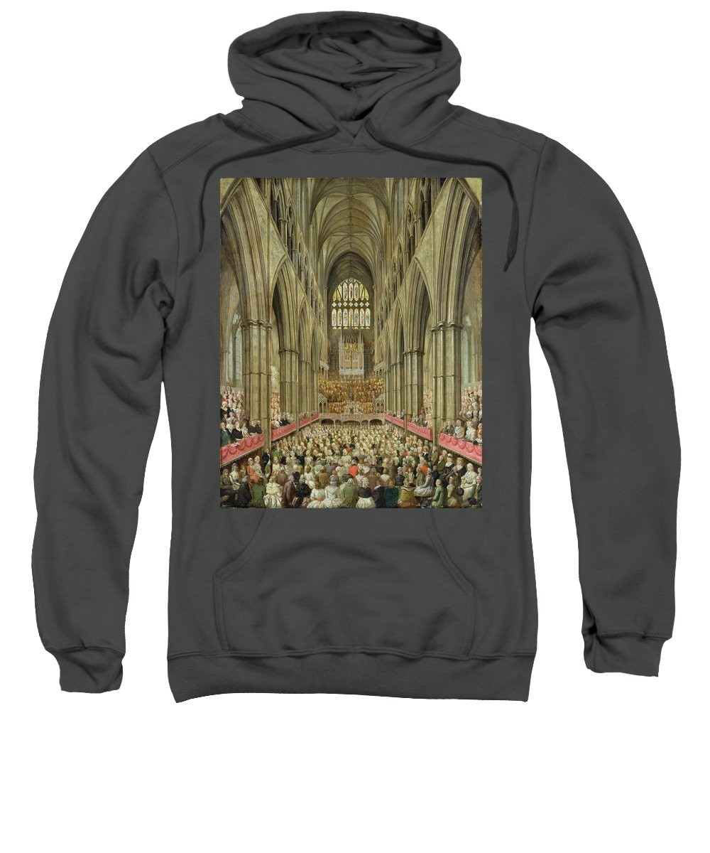 Interior Sweatshirt featuring the painting An Interior View Of Westminster Abbey On The Commemoration Of Handel's Centenary by Edward Edwards