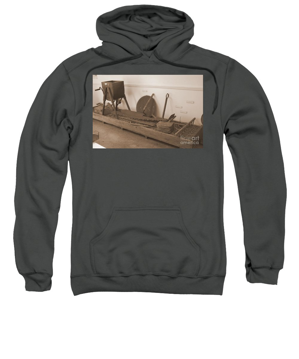 Sepia Sweatshirt featuring the photograph Antiquated Plantation Tools - 1 by Mary Deal