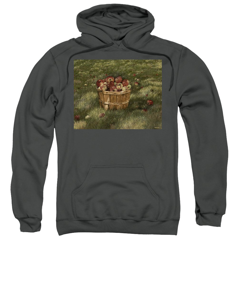 Apples Paintings Sweatshirt featuring the painting Apples In Basket by Mary Ann King