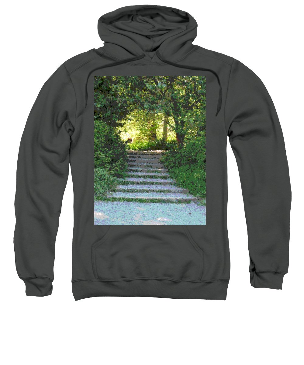 Steps Sweatshirt featuring the digital art Arboretum Steps by Tim Allen
