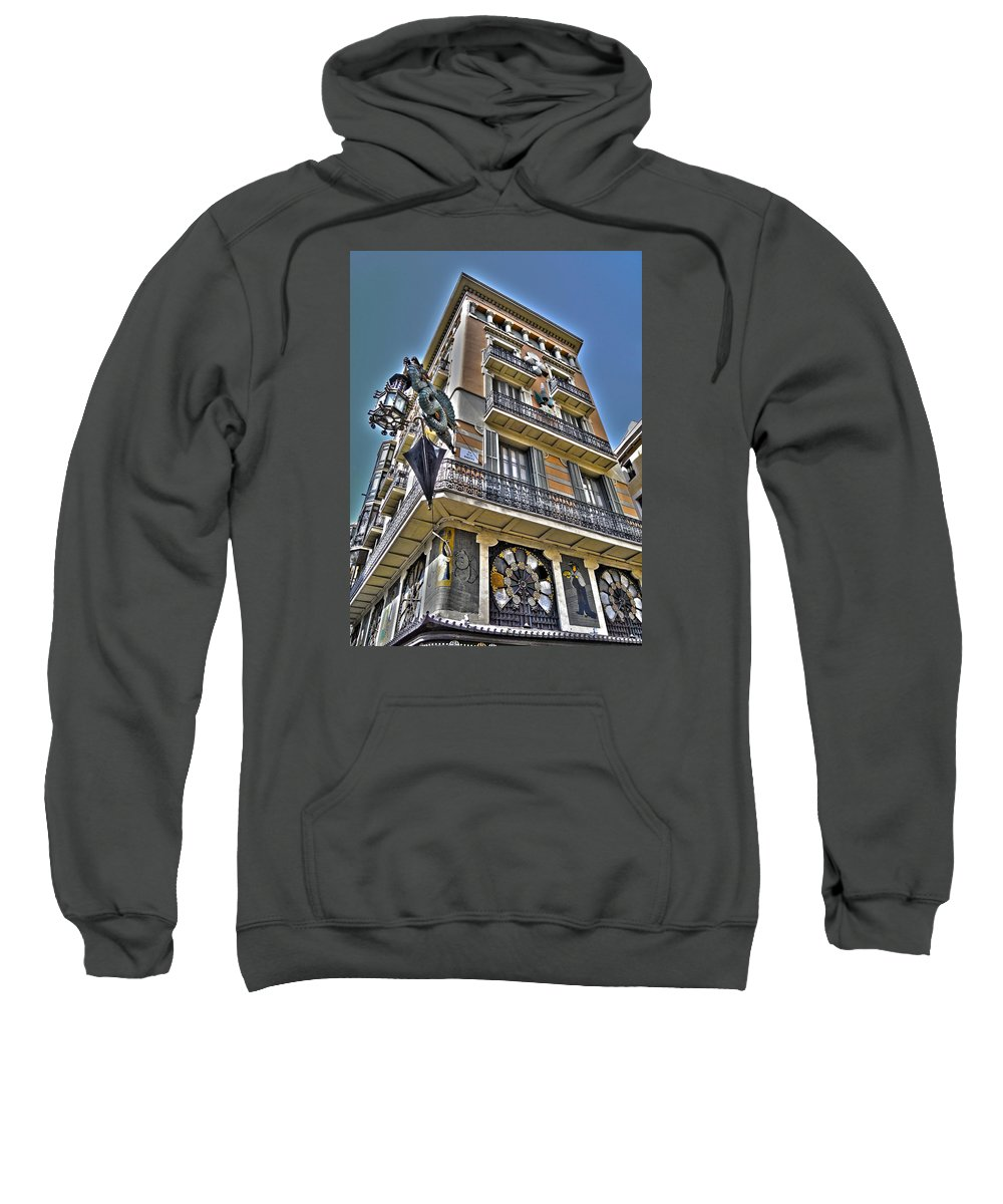 Aerial Sweatshirt featuring the photograph At The Plaza De La Boqueria ... by Juergen Weiss