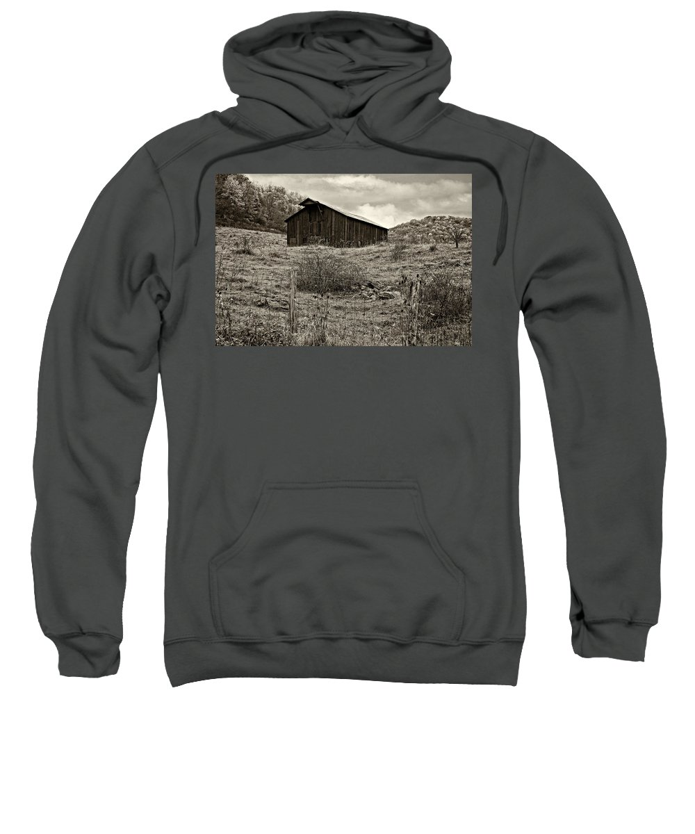 West Virginia Sweatshirt featuring the photograph Autumn Barn Sepia by Steve Harrington
