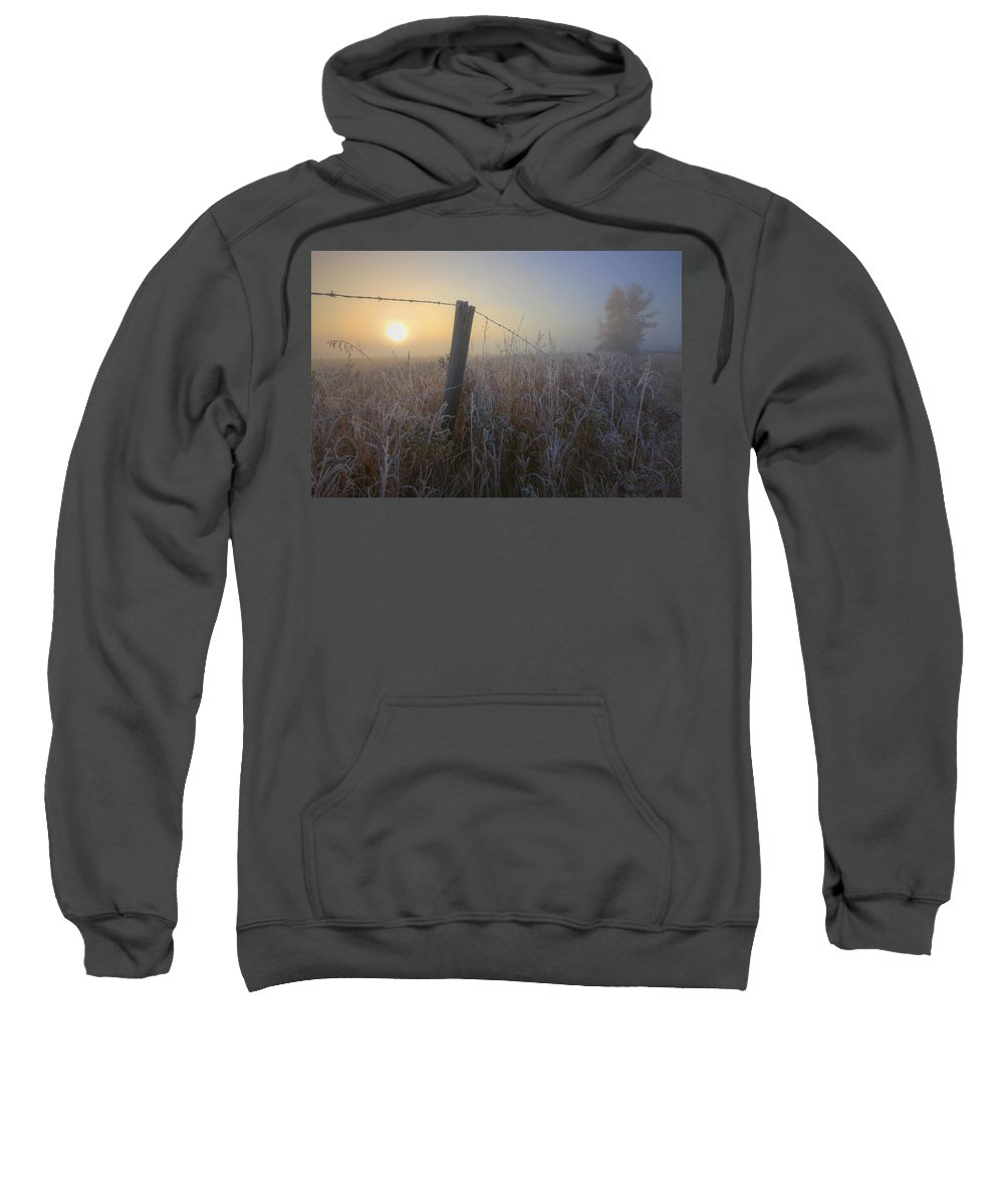 Autumn Sweatshirt featuring the photograph Autumn Sunrise Over Hoar Frost-covered by Dan Jurak