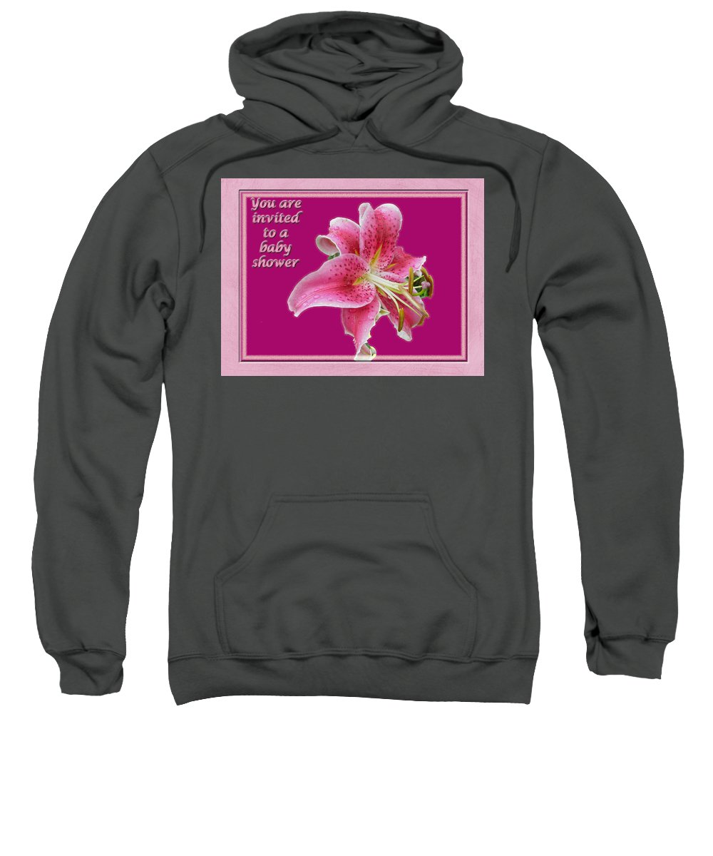 Baby Sweatshirt featuring the photograph Baby Shower Invitation - Pink Stargazer Lily by Mother Nature