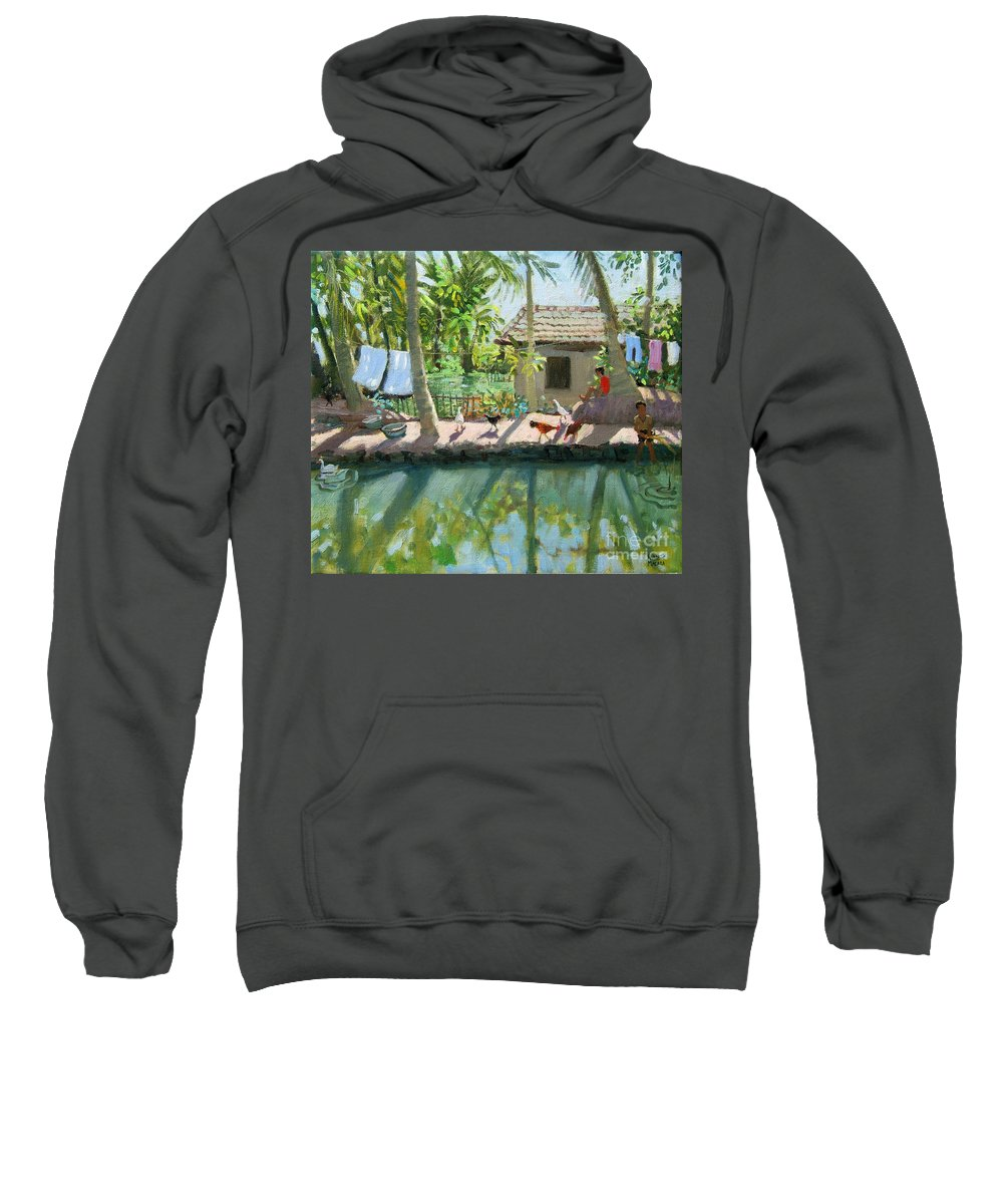 River Sweatshirt featuring the painting Backwaters India by Andrew Macara