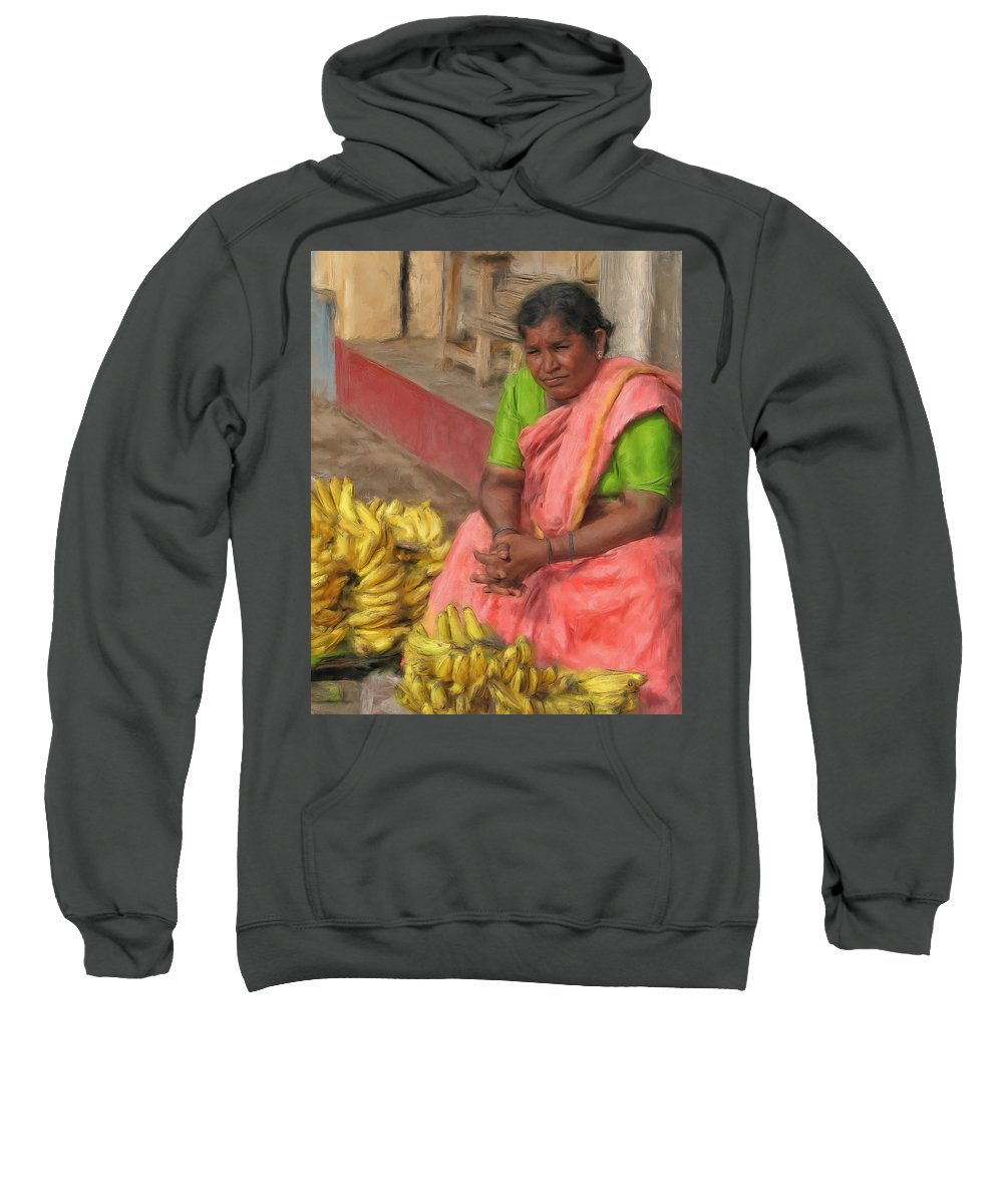 Banana Sweatshirt featuring the painting Banana Seller by Dominic Piperata