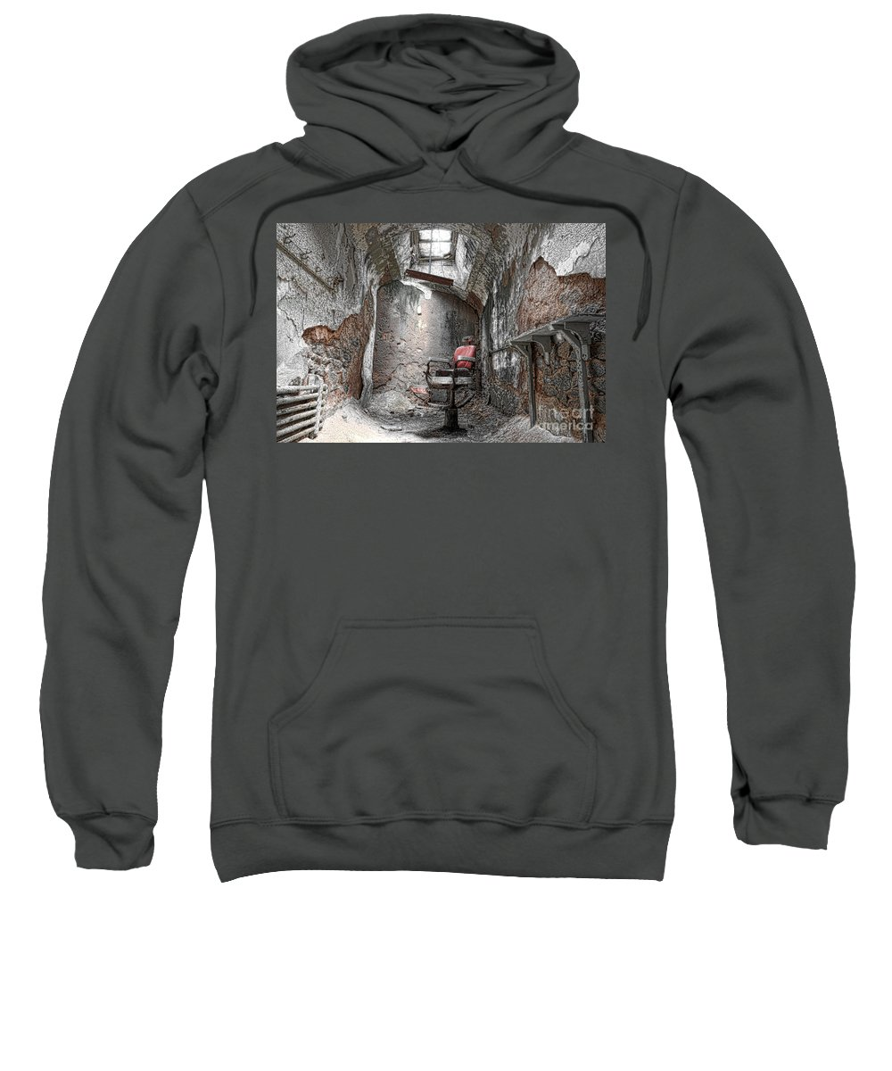 Eastern State Penitentiary Sweatshirt featuring the photograph Barber - Chair - Eastern State Penitentiary by Paul Ward