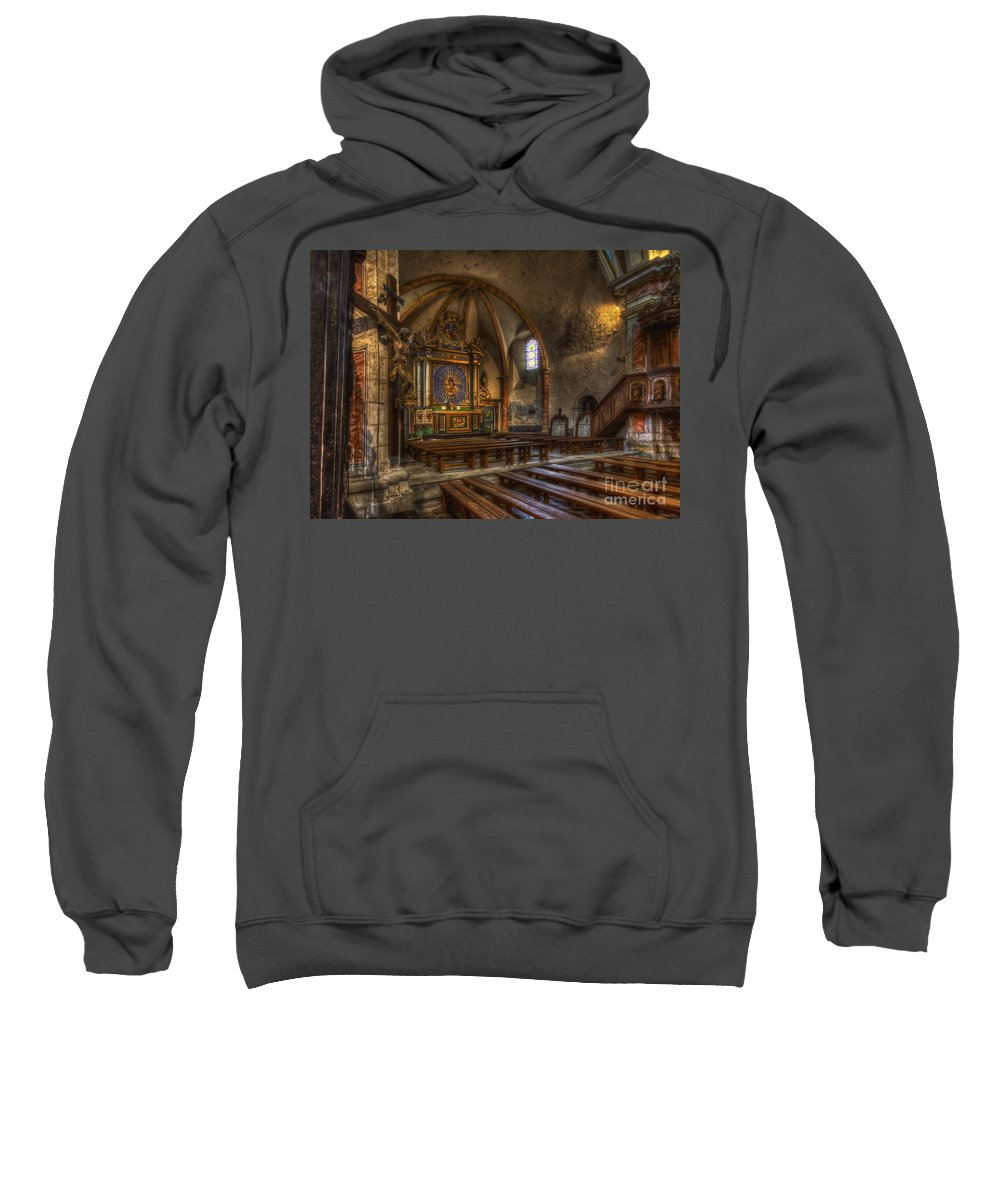 Clare Bambers Sweatshirt featuring the photograph Baroque Church In Savoire France 2 by Clare Bambers