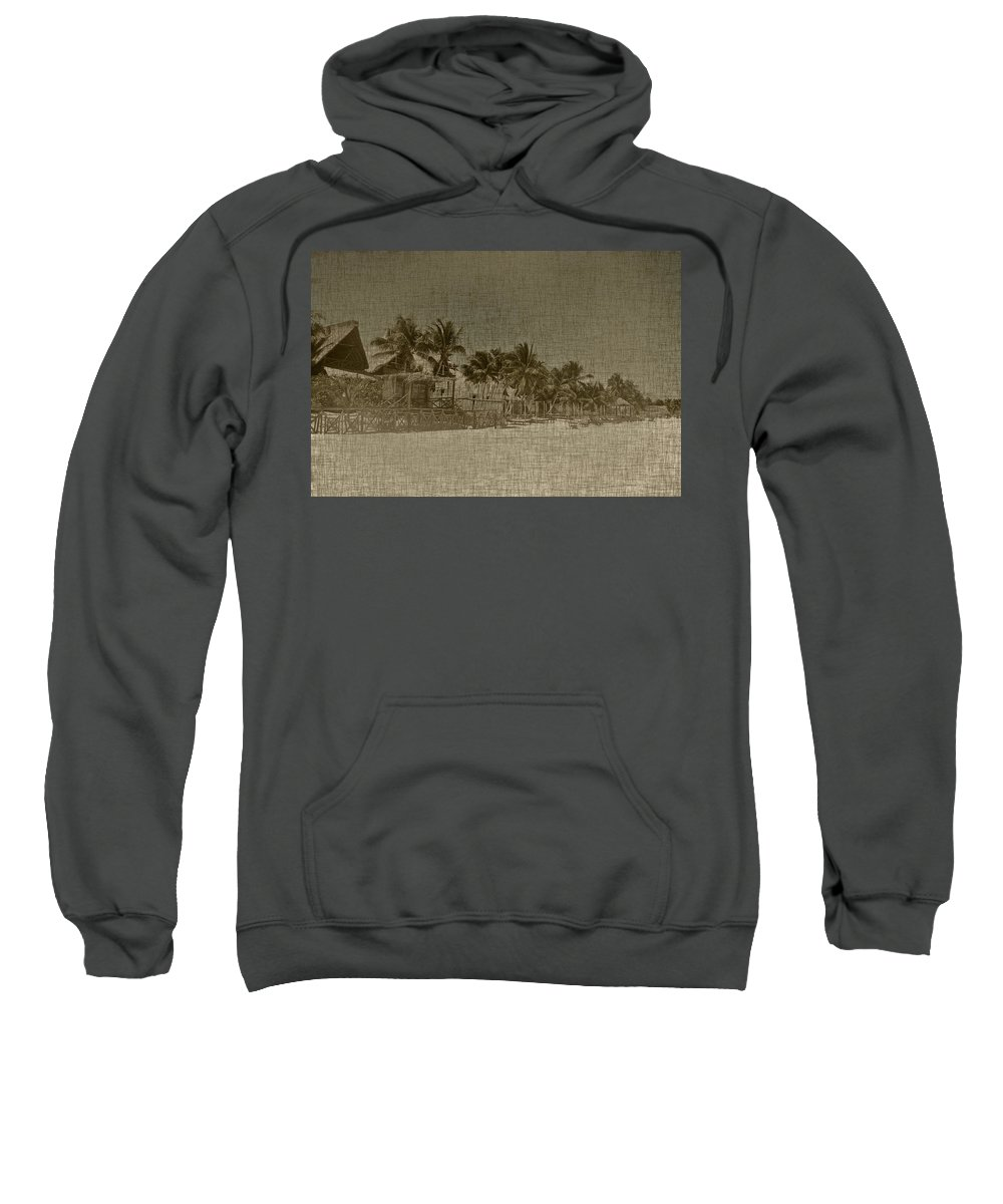 Beach Sweatshirt featuring the photograph Beach Huts In A Tropical Paradise by Brandon Bourdages