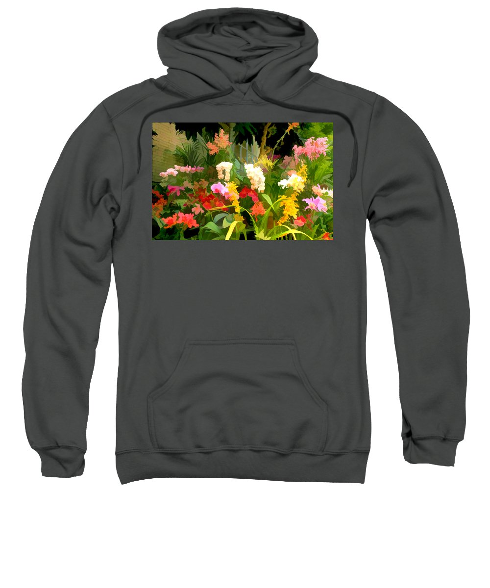 Flower Flowers Garden Orchids Orchid Tropical Flora Floral Nature Natural Sweatshirt featuring the painting Bed Of Orchids by Elaine Plesser