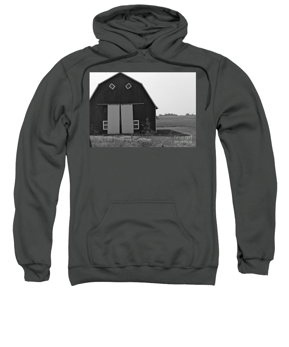 Barn Sweatshirt featuring the photograph Big Tooth Barn Black And White by Pamela Walrath