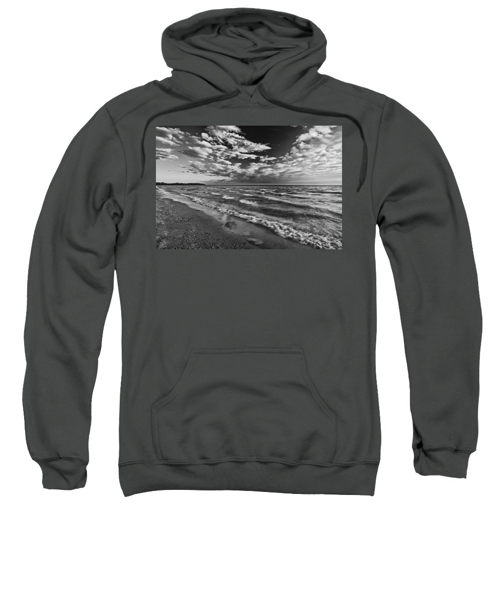 B&w Sweatshirt featuring the photograph Black And White Shoreline Of Lake by Mike Grandmailson