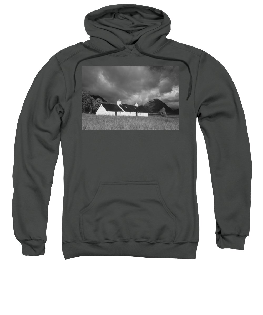 Monochrome Sweatshirt featuring the photograph Black Rock Cottage And Buachaille Etive Mor by Howard Kennedy
