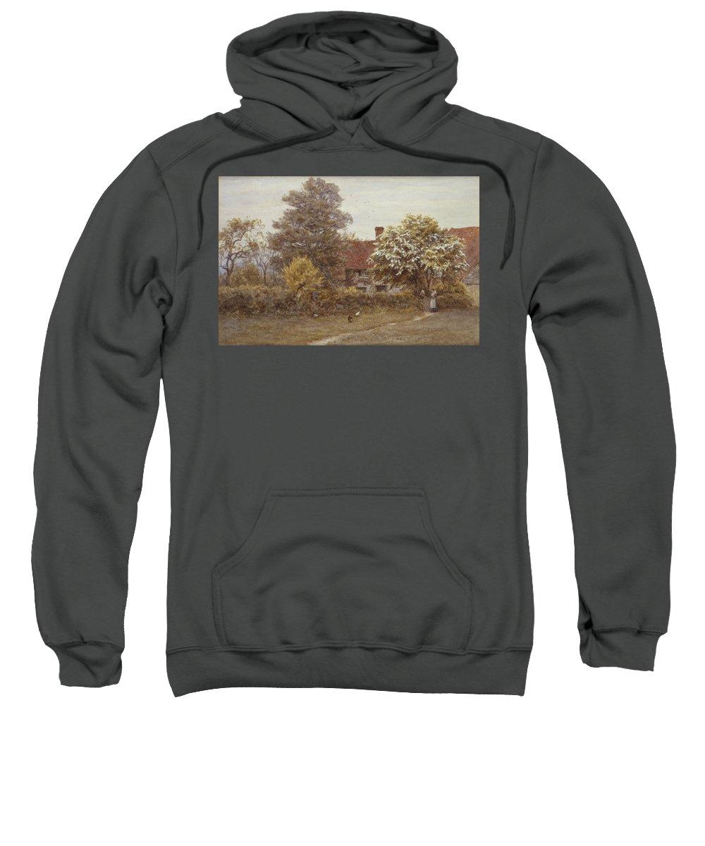 Blake's House Sweatshirt featuring the painting Blake's House Hampstead Heath by Helen Allingham
