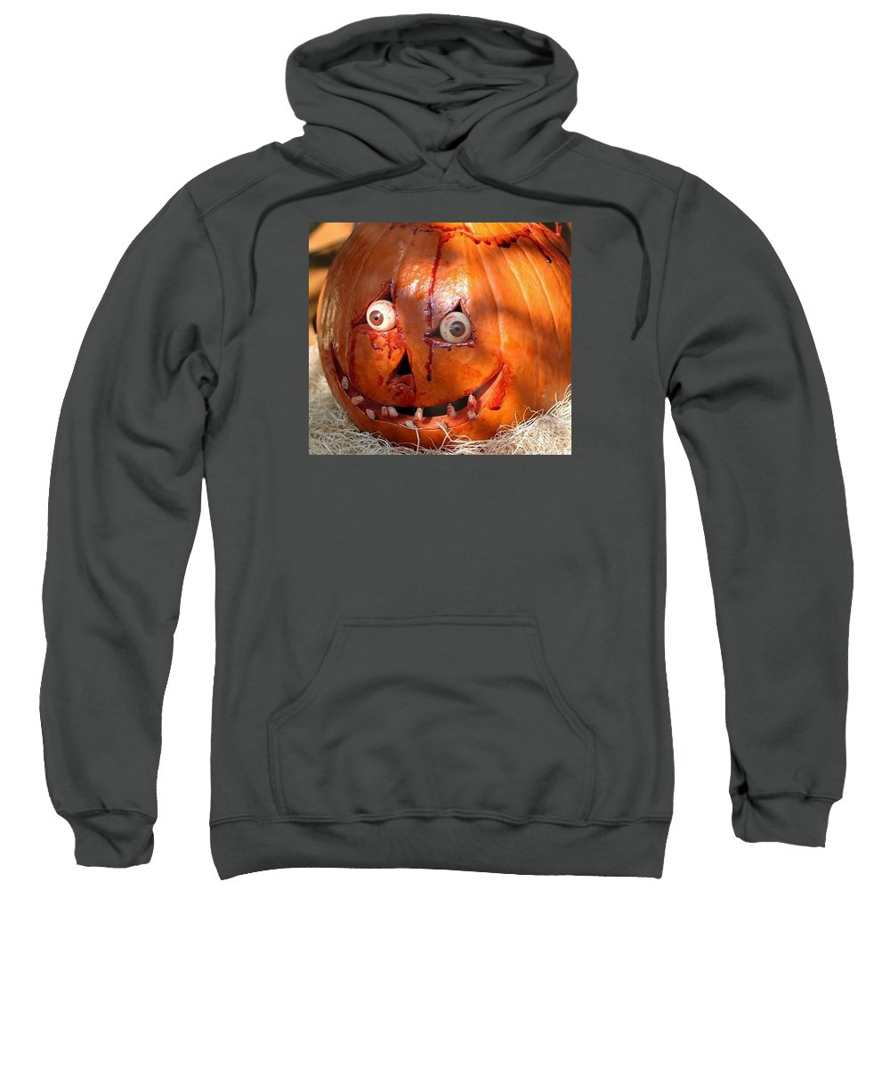 Pumpkin Sweatshirt featuring the photograph Bloody Pumpkin by Living Color Photography Lorraine Lynch