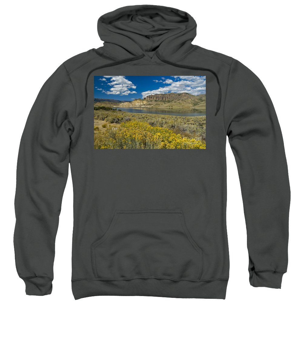 Blue Mesa Sweatshirt featuring the photograph Blue Mesa Reservoir - H by Tim Mulina
