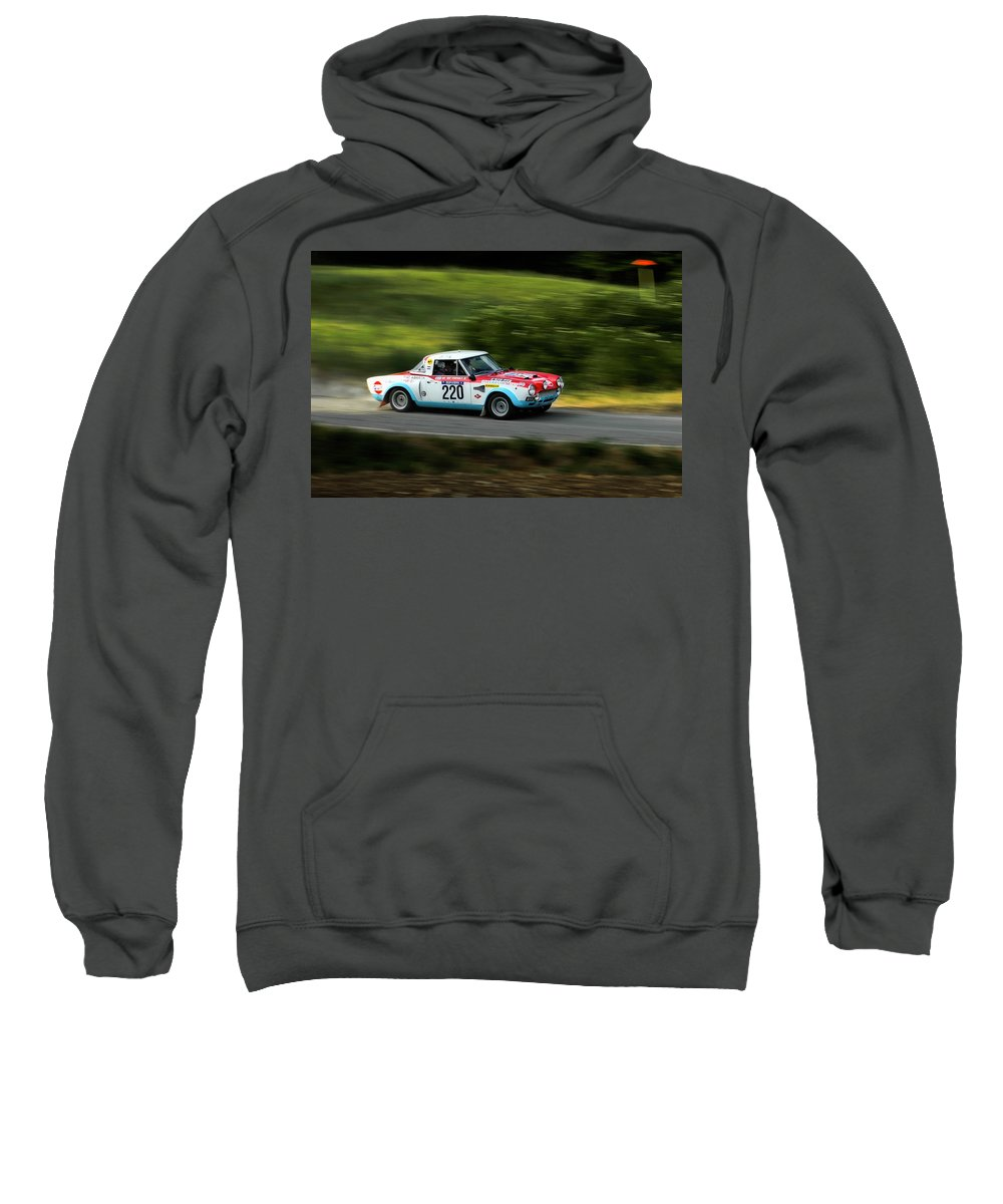 Car Sweatshirt featuring the photograph Blue Red And White Fiat Abarth by Alain De Maximy