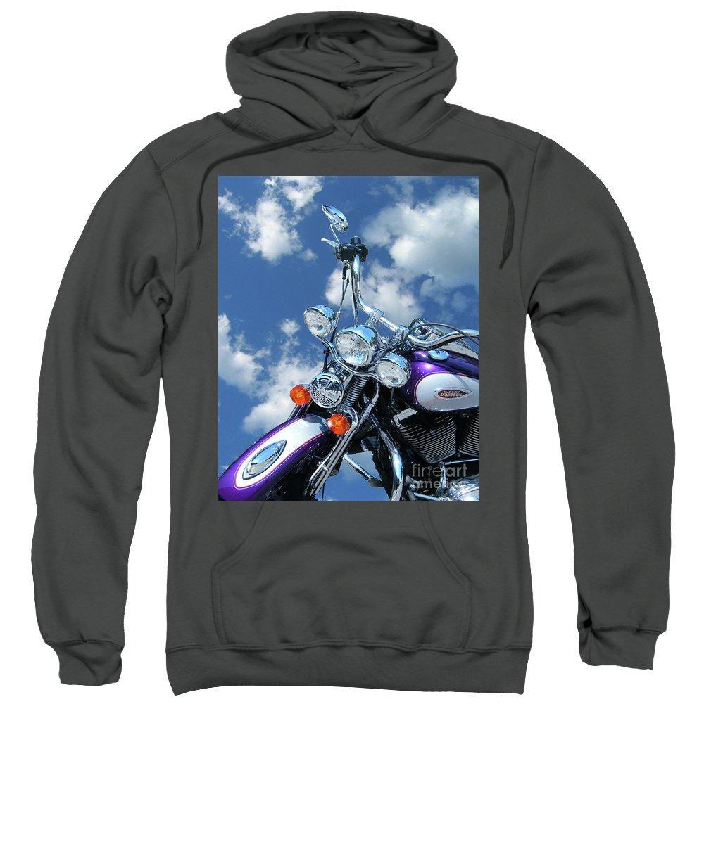 Harley Davidson Sweatshirt featuring the digital art Blue Sky Harley by Lizi Beard-Ward