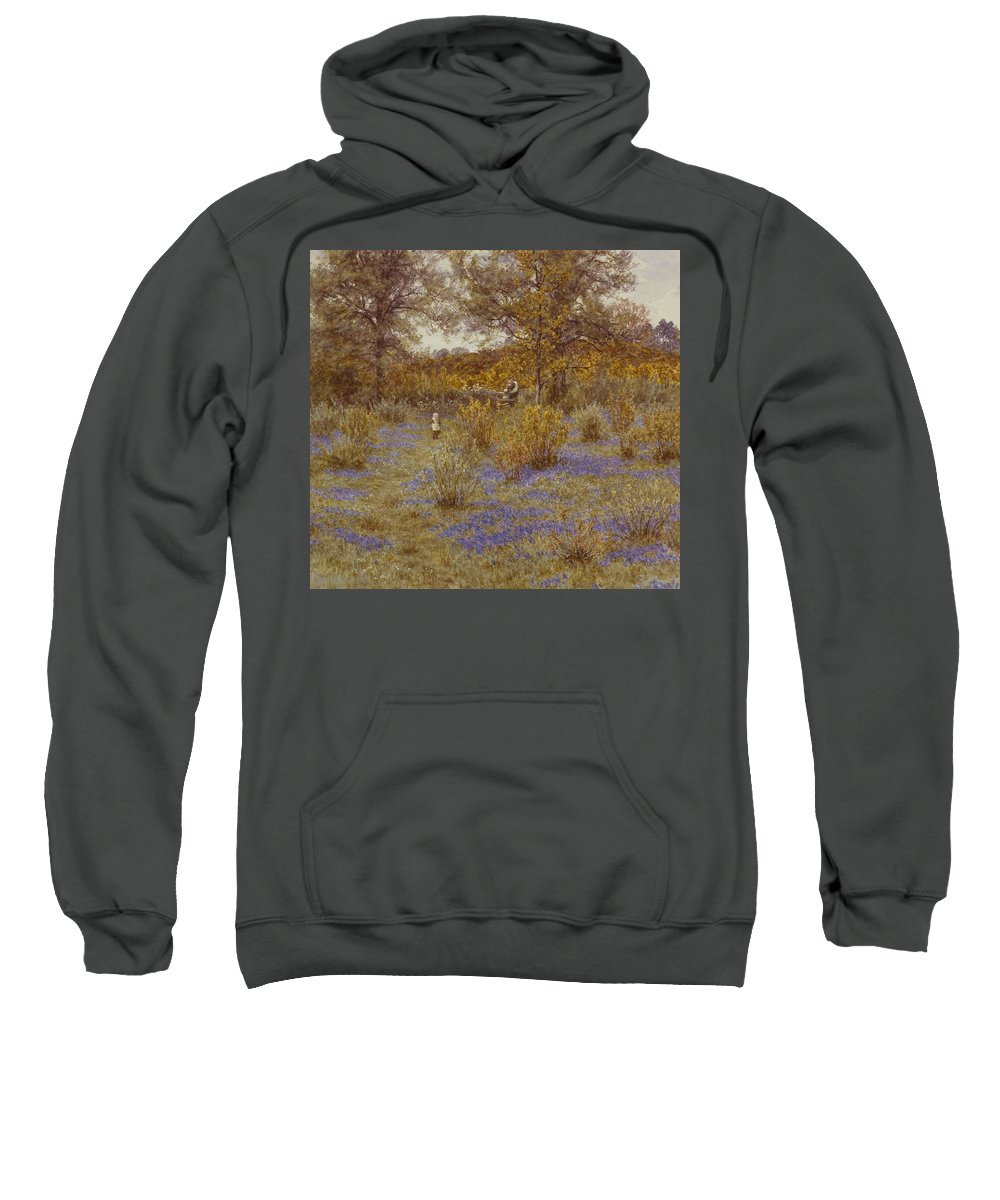 Bluebell Copse Sweatshirt featuring the painting Bluebell Copse by Helen Allingham