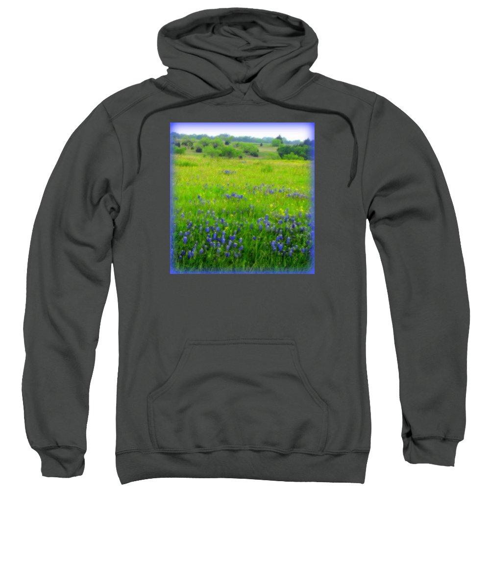 Bluebonnets Sweatshirt featuring the photograph Bluebonnet Dreams by Carla Parris