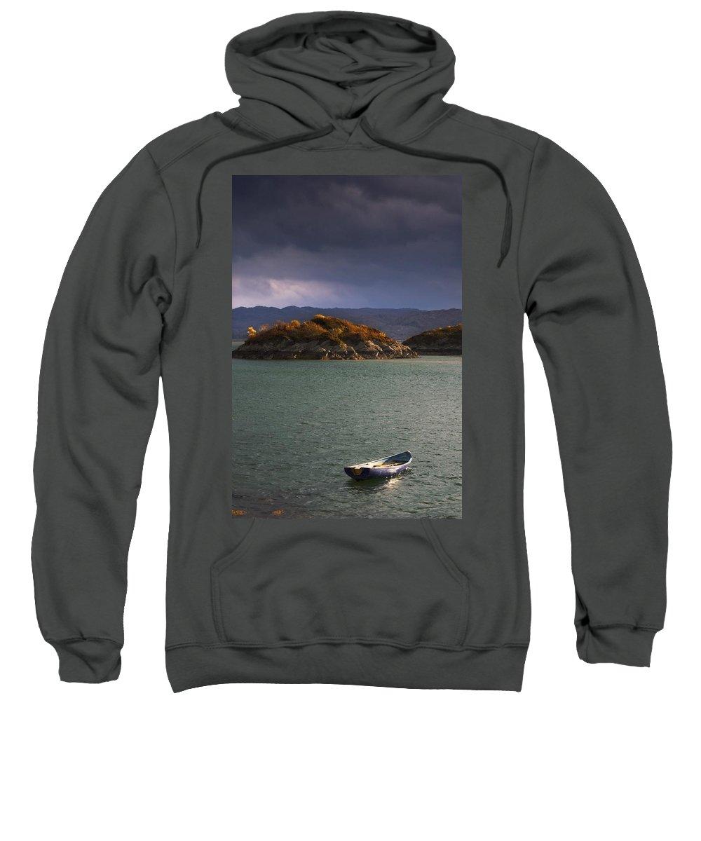 Anchored Sweatshirt featuring the photograph Boat On Loch Sunart, Scotland by John Short