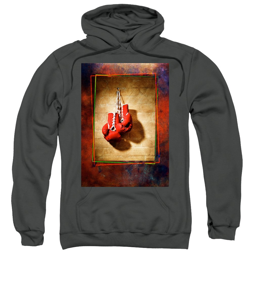 Gloves Sweatshirt featuring the pyrography Boxing by Mauro Celotti