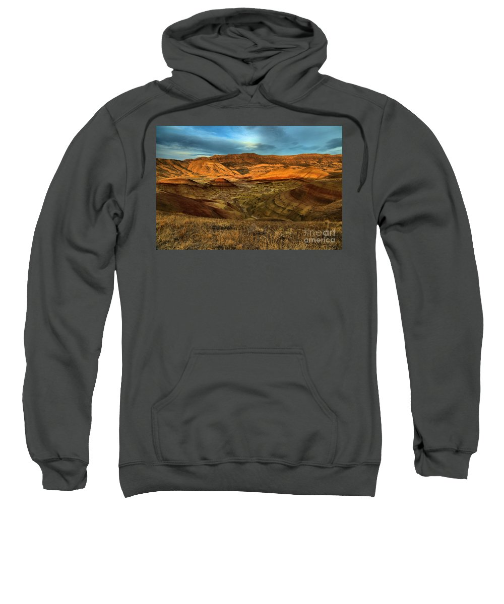 John Day Fossil Beds Sweatshirt featuring the photograph Brightly Painted Hills by Adam Jewell