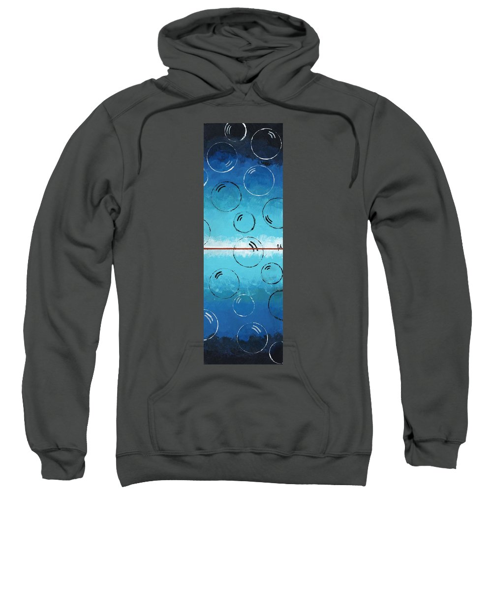Blue Sweatshirt featuring the painting Bubbles Of Energy On A Blue Horizon by Jeremy Aiyadurai