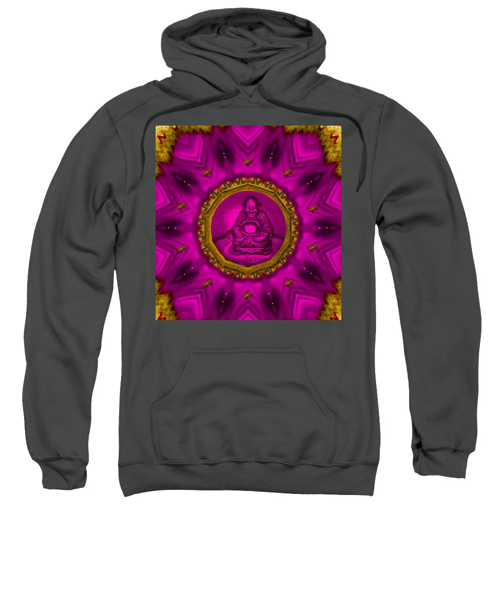 Buddha Sweatshirt featuring the mixed media Buddha Also Love The Nature by Pepita Selles