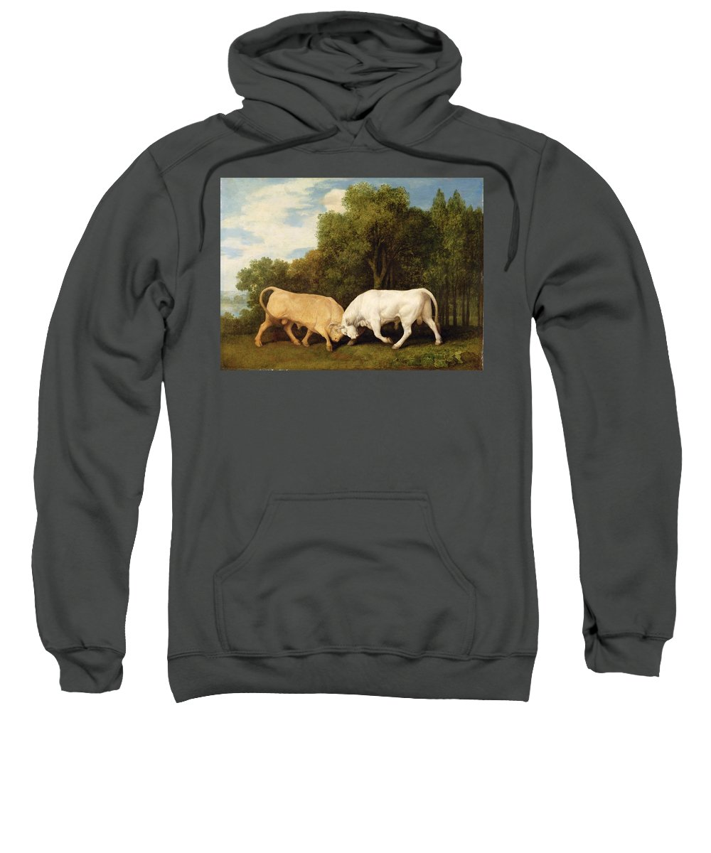 Xyc123111 Sweatshirt featuring the photograph Bulls Fighting by George Stubbs