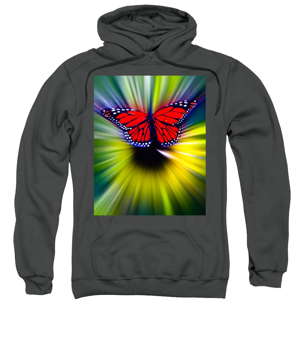 Butterfly Sweatshirt featuring the photograph Butterfly Fly by Steve McKinzie