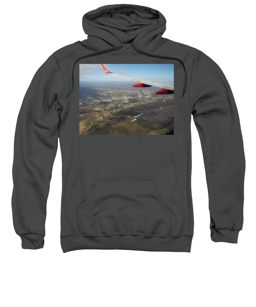 Airplane Sweatshirt featuring the photograph By Water By Air by Anthony Walker Sr