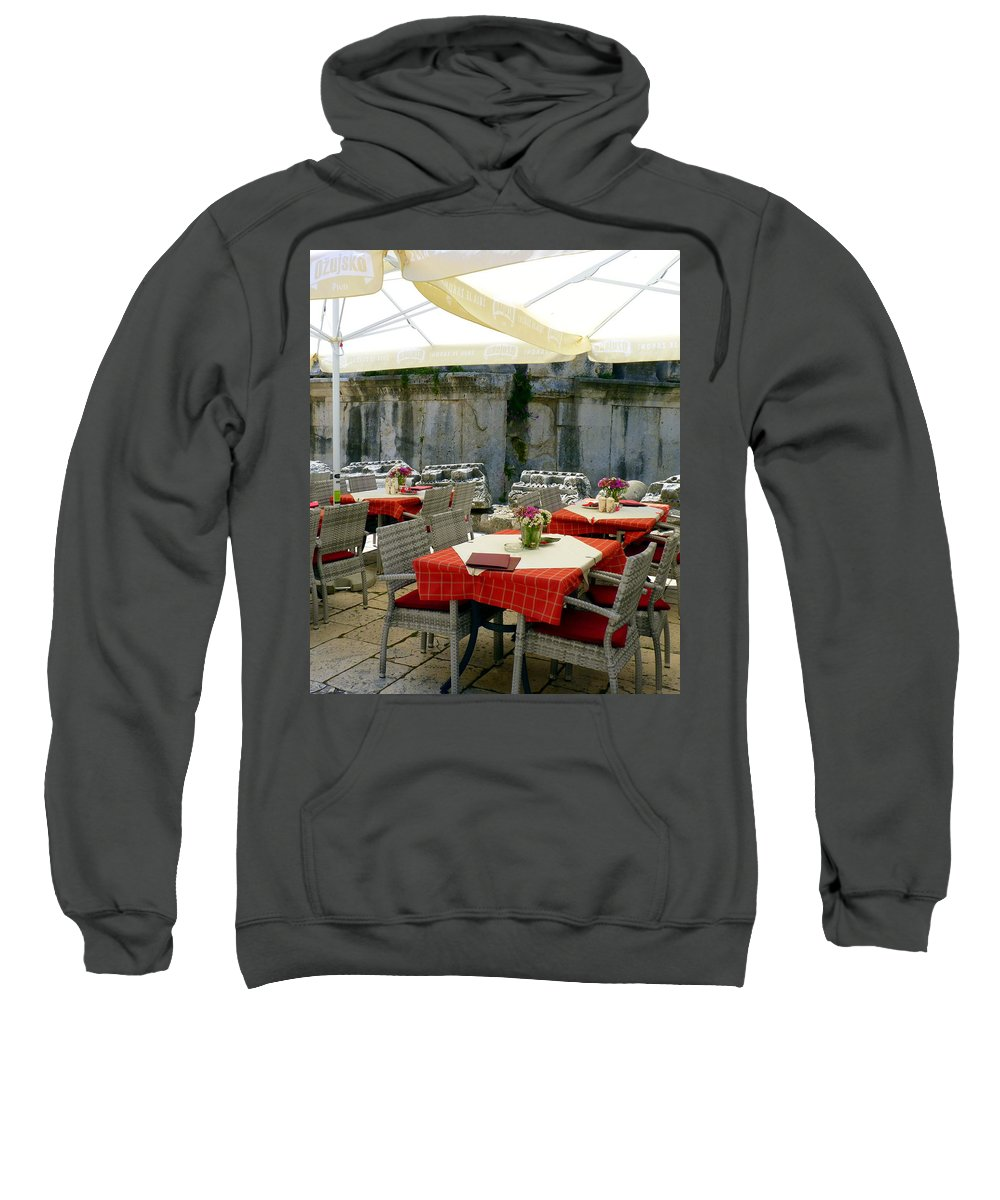 Cafe Sweatshirt featuring the photograph Cafe In Split Old Town by Carla Parris