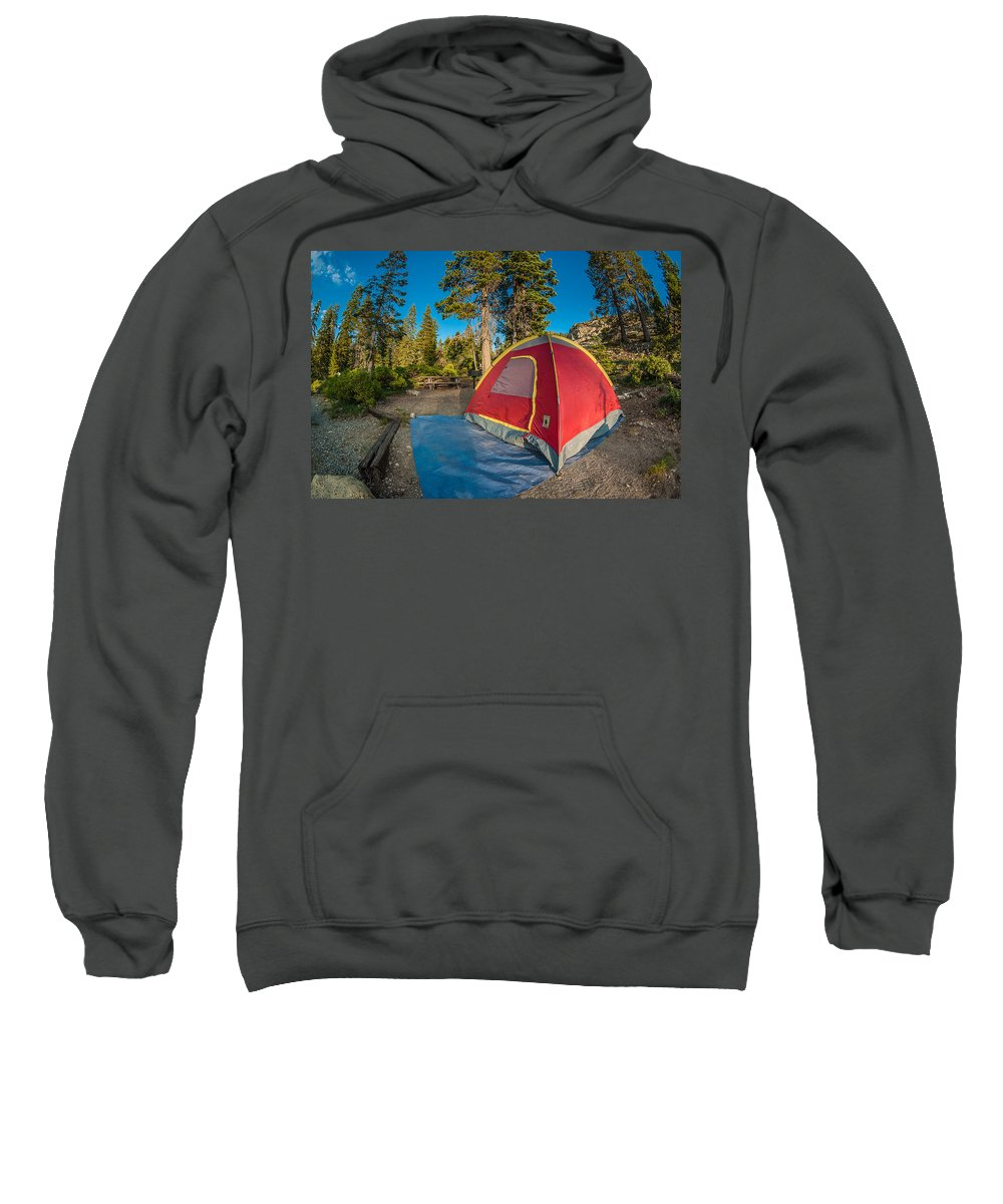 Camping Sweatshirt featuring the photograph Camping In The Forest by Greg Nyquist