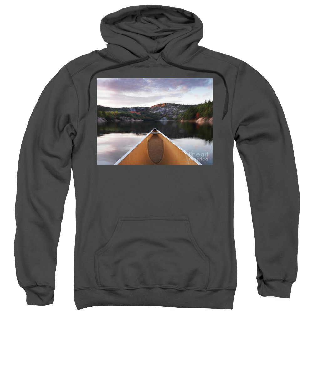 Canoe Sweatshirt featuring the photograph Canoeing In Ontario Provincial Park by Oleksiy Maksymenko