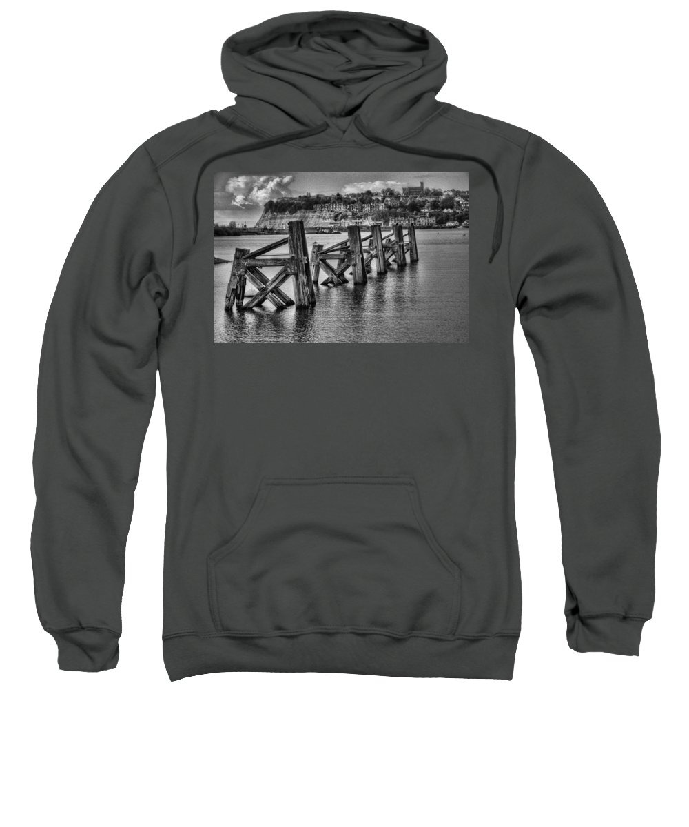 Cardiff Bay Jetty Sweatshirt featuring the photograph Cardiff Bay Old Jetty Supports Mono by Steve Purnell