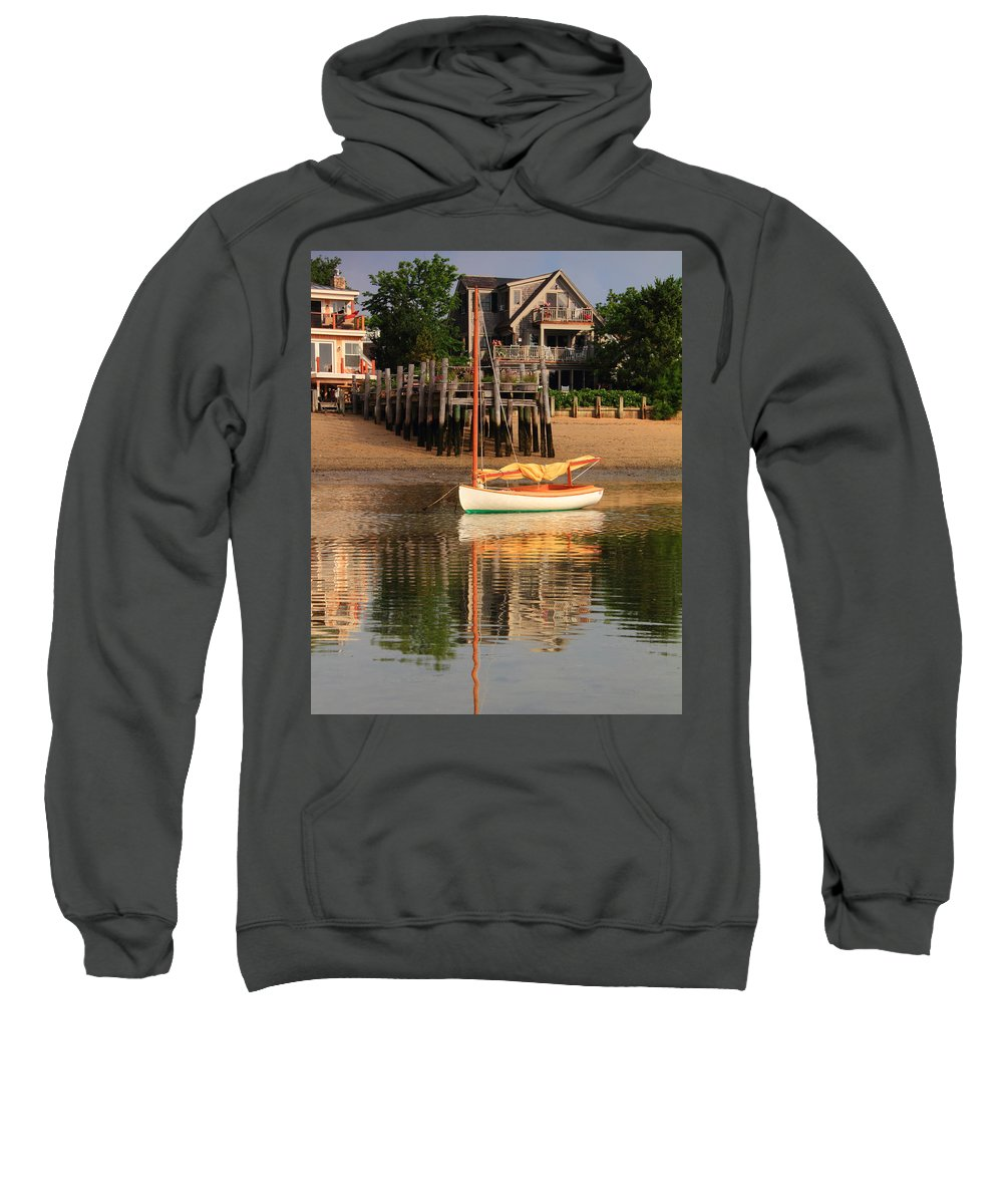 Catboat Sweatshirt featuring the photograph Catboat And Rippled Water Reflections by Roupen Baker